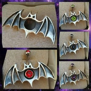 Jewelry - 🦇🖤.925 Sterling Silver Bat Belly Ring Shield